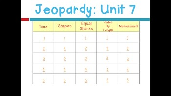 Math Expressions 2011 Unit 7 Jeopardy for 1st Grade