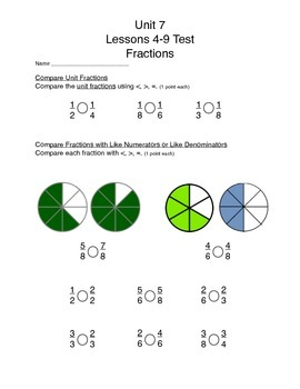 Math Expressions Unit 7 Lessons 4-9 Grade 3, Fractions