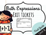 Math Expressions Unit 8 Exit Tickets - 1st Grade