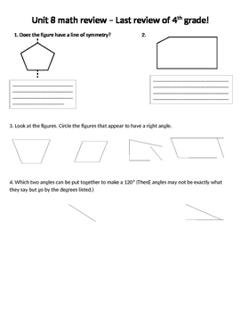 Math Expressions Unit 8 Review 4th Grade
