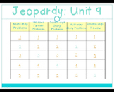 Math Expressions 2011 Unit 9 Jeopardy for 1st Grade