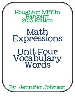 Math Expressions Unit Four Vocabulary