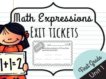 Math Expressions Unit 1 Exit Tickets - 1st Grade