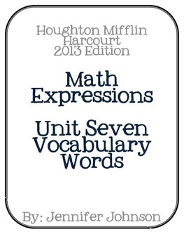 Math Expressions Unit Seven Vocabulary