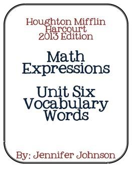 Math Expressions Unit Six Vocabulary