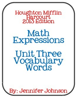 Math Expressions Unit Three Vocabulary