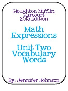 Math Expressions Unit Two Vocabulary