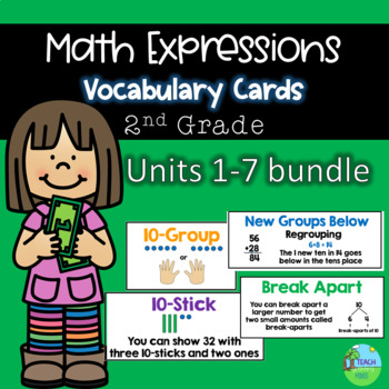 Math Expressions Grade 2 Vocabulary Cards Bundle Units 1-5, 6 and 7 coming soon