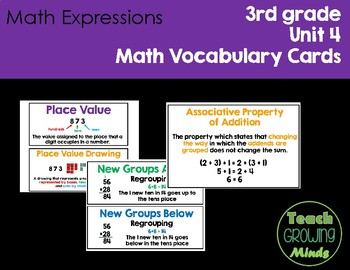 Math Expressions Vocabulary Cards Grade 3 Unit 4
