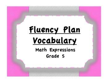 Fluency Plan Vocabulary (Math Expressions, Grade 5)