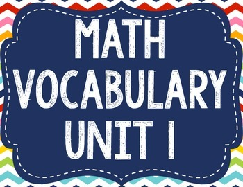 Math Expressions Vocabulary - Unit 1