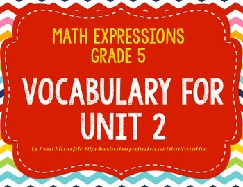 Math Expressions Vocabulary - Unit 2