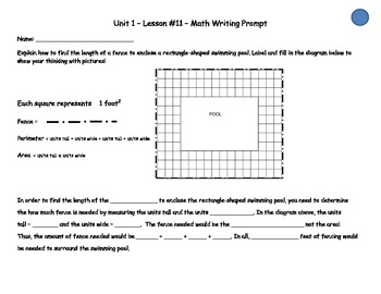 Math Expressions- Writing Prompts - 3rd grade: Unit 1 lessons (11-19)