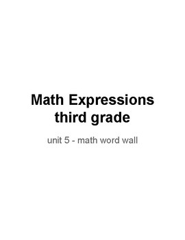 Math Expressions third grade Unit 5 - word wall words