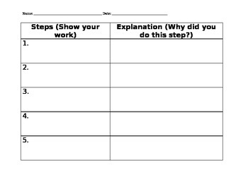 Math Extended Response Graphic Organizer