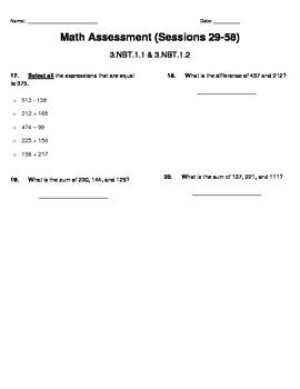 Math FSA (Florida Standards) Assessment - Rounding/Addition & Subtraction