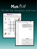 Math FUN:  Tic-Tac-Toe, Hangman and more