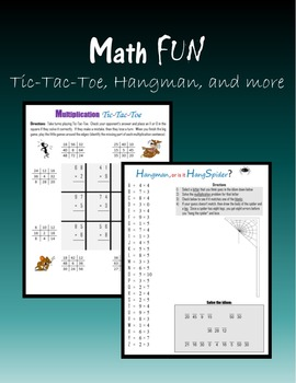 Math FUN:  Tic-Tac-Toe, Hangman and more