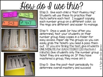 Math Fact Addition Fluency Tickets