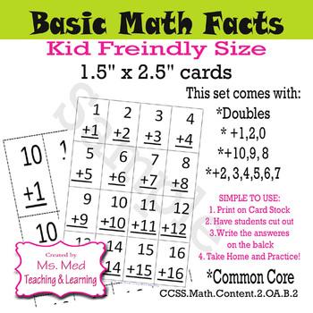 Math Fact Basic Flash Cards Doubles Plus 10 Plus 9 Set of 11 Second Grade
