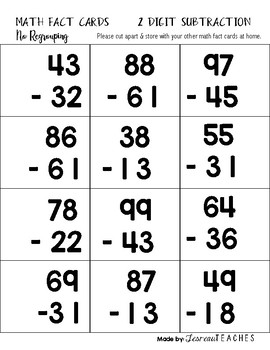 Math Fact Cards 2 Digit Subtraction (Without Regrouping)