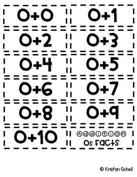 Math Fact Cards- Addition 0-10
