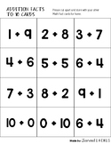 Math Fact Cards Addition to 10