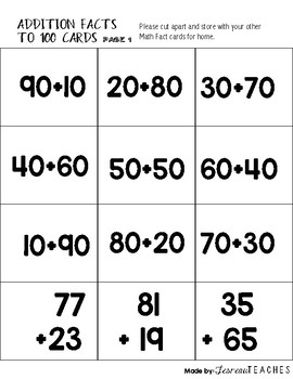 Math Fact Cards 2 Digit Addition to 100
