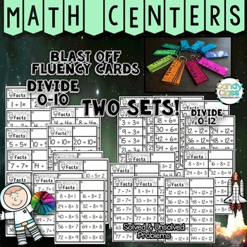 Math Fact Fluency Practice Cards for Division Facts