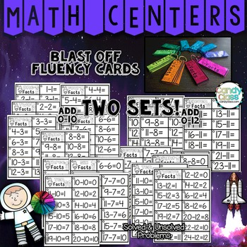 Math Fact Fluency Practice Cards for Subtraction Facts