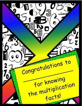 Math Fact Certificate (Multiplication Facts)