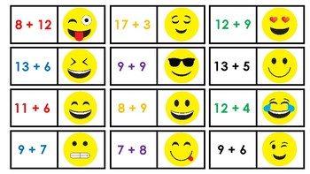 Math Fact Emoji Partner Cards