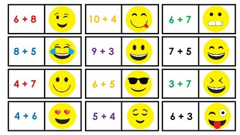 Math Fact Emoji Partner Cards