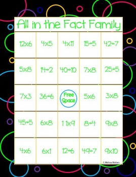 Math Fact Family Bingo