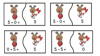 Math Fact Family Puzzles Reindeer Theme