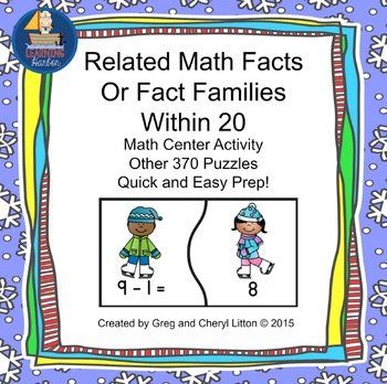 Math Fact Family Puzzles Winter Kids Theme