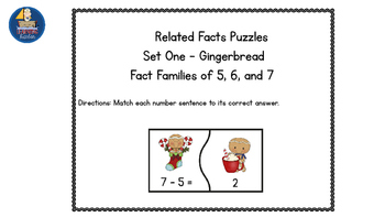 Math Fact Family Puzzles Winter Gingerbread Friends Theme