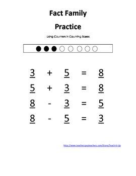 Math Fact Family Worksheets K-1