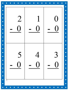 Math Facts Flashcards - Zero Facts