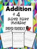 Math Fact Fluency +4 (Addition Timed Test)