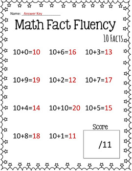 Math Fact Fluency: Addition Timed Tests