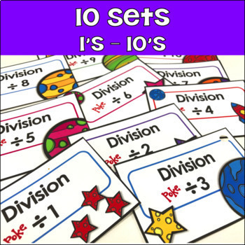 Math Fact Fluency Division Poke Cards