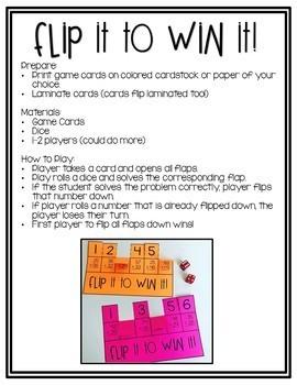Math Fact Fluency Flip It to Win It {Addition}