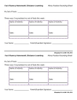 Math Fact Fluency Homework Menu Practice Recording Sheet