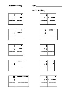 Math Fact Fluency Level 1 Addition With Counters