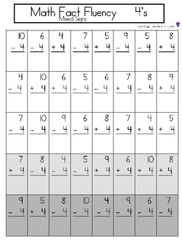Math Fact Fluency - Mixed signs