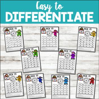 Math Fact Fluency Multiplication Games - Ninja Theme