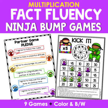 Math Fact Fluency Multiplication Games - Ninja Theme