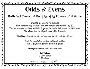 Math Fact Fluency & Multiplying By Powers of 10 or 100 Game