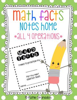 FREEBIE Math Fact Fluency Notes Home